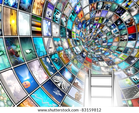 Media Tunnel with Bright opening and ladder - stock photo