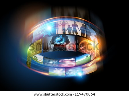 Media World - lots of colourful screens spinning around - stock photo