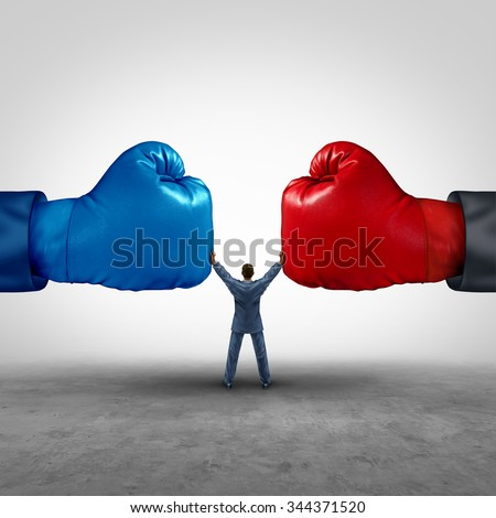 Mediate and legal mediation business concept as a businessman or lawyer separating two boxing glove opposing competitors as an arbitration success symbol for finding a solution to solve a conflict. - stock photo