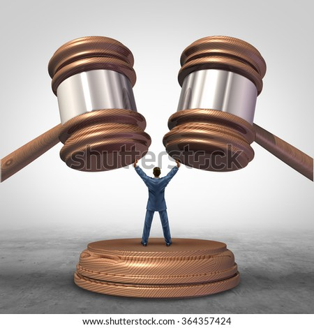 Mediation resolution and mediate legal disputes in business as a concept with a businessman or lawyer separating two judge mallets or gavel as competitors in arbitration. - stock photo