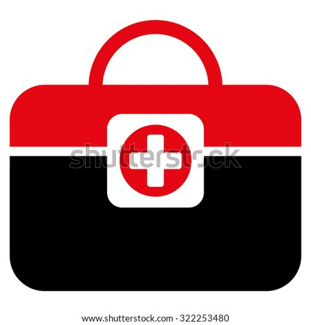 Medic Case raster icon. Style is bicolor flat symbol, intensive red and black colors, rounded angles, white background.