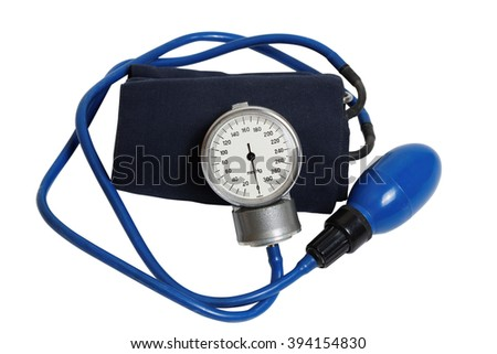 Medic instrument for measuring blood pressure - Professional Blood Pressure Kit with Pressure Cuff isolated on white - stock photo