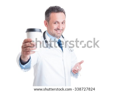 Medic or doctor having coffee and cigarette break isolated on white background concept - stock photo