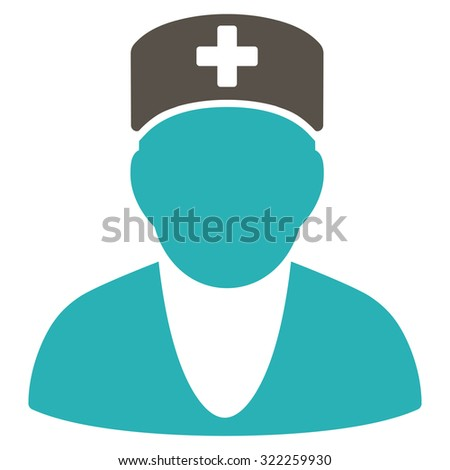 Medic raster icon. Style is bicolor flat symbol, grey and cyan colors, rounded angles, white background.