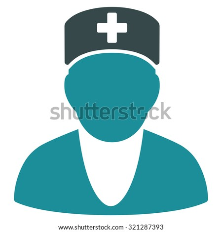 Medic raster icon. Style is bicolor flat symbol, soft blue colors, rounded angles, white background.