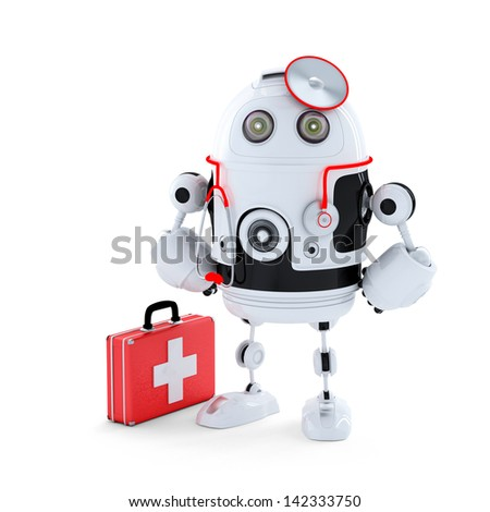 Medic Robot. Repair concept. Isolated - stock photo