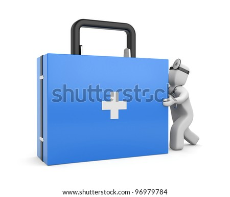Medic with first aid kit. Image contain clipping path - stock photo