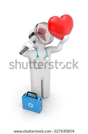Medic with magnifying glass exploration heart - stock photo