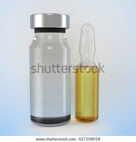 Medical ampules isolated. 3D illustration - stock photo