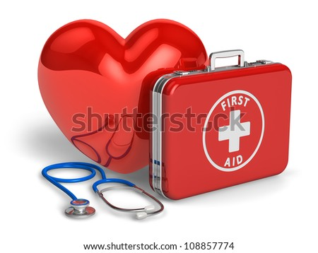 Medical assistance and cardiology concept: red heart, case with first aid kit and stethoscope isolated on white background - stock photo