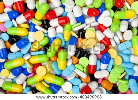 Medical background with colorful pills and capsules. Realistic 3D render