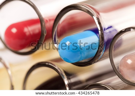 Medical background with pills and test tube Medical pills test tube capsul pill Medical pills test tube capsul pill Medical pills test tube capsul pill Medical pills test tube capsul pill Medical - stock photo