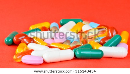 Medical background with pills ,close up