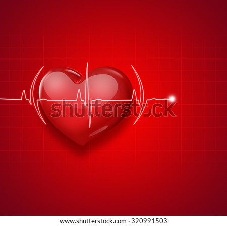 Medical background with red heart and pulse
