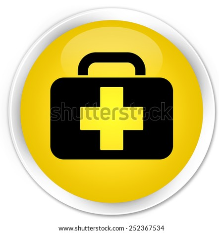 Medical bag icon yellow glossy round button - stock photo