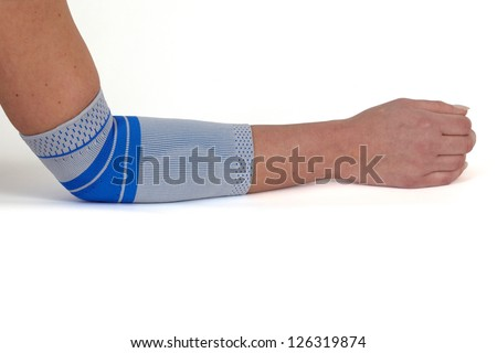 Medical bandage around a woman's arm, isolated on white.
