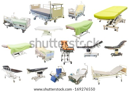 medical bed isolated under the white background - stock photo