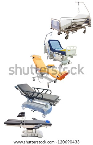 medical beds under the white background