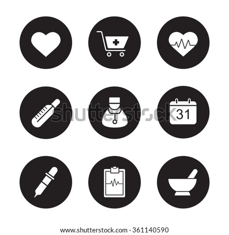 Medical black icons set. Hospital cardiology center. Thermometer and doctor white silhouettes illustrations. Cardiogram and heartbeat symbols. Pharmacy store and alternative medicine herbs. Raster - stock photo
