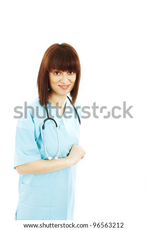 Medical blank sign billboard. Young woman doctor / nurse showing empty sign. Female medical professional, standing. Isolated on white background.