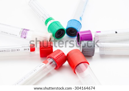Medical Blood tube, test tube for laboratory on white background - stock photo