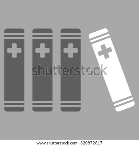 Medical Books glyph icon. Style is bicolor flat symbol, dark gray and white colors, rounded angles, silver background.
