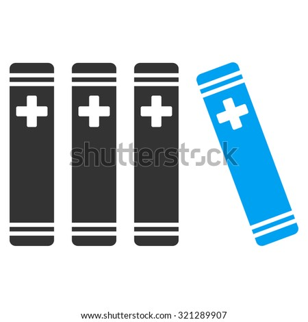 Medical Books raster icon. Style is bicolor flat symbol, blue and gray colors, rounded angles, white background.