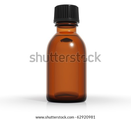 Medical bottle of brown color glass with liquid and black plastic cap, 3d