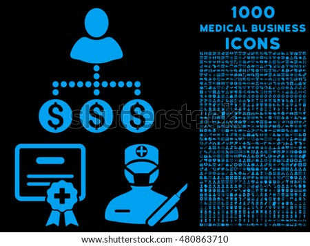 Medical Business raster icon with 1000 medical business icons. Set style is flat pictograms, blue color, black background.