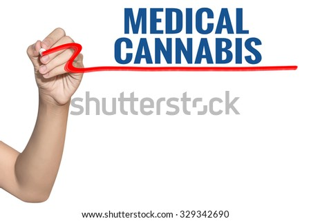 Medical Cannabis word write on white background by woman hand holding highlighter pen - stock photo