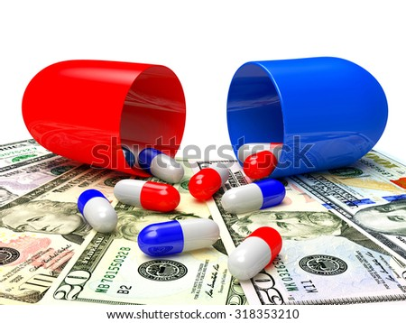 Medical capsules spilled out of an open capsule on dollar bills. High costs of expensive medication concept