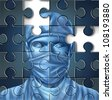 Medical care problems concept with a doctor and a surgeon mask symbol in a puzzle jigsaw texture with pieces missing as change to the broken hospital services and  insurance that needs to be fixed. - stock photo