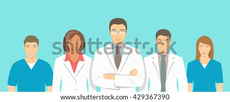 Medical clinic doctors team flat illustration. Group of healthcare specialists, physicians and nurses, men and women in white coats. Hospital staff horizontal background. Medics counseling concept - stock photo