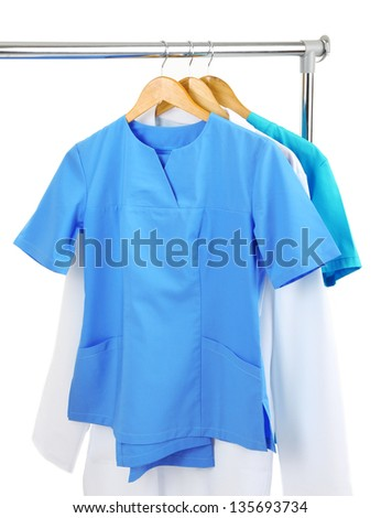 Medical clothing on hunger isolated on white