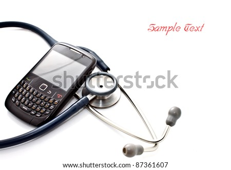 medical concept, smart phone and stethoscope - diagnosing the problem via mobile phone