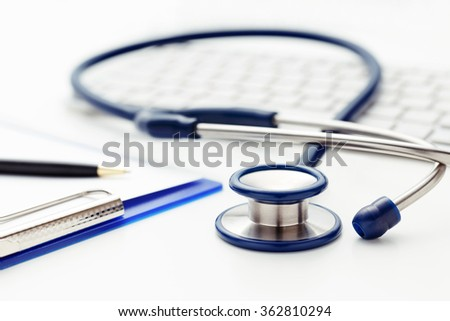 Medical concept with stethoscope clipboard and  keyboard