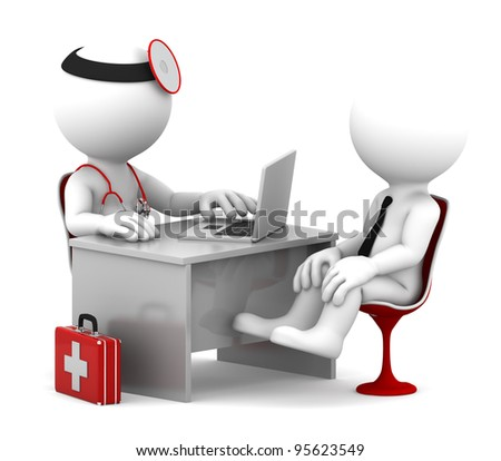 Medical consultation. Doctor and patient talking at the office. Isolated over white - stock photo