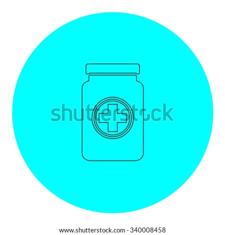 Medical container. Black outline flat symbol on blue circle. Simple illustration pictograh on white background - stock photo