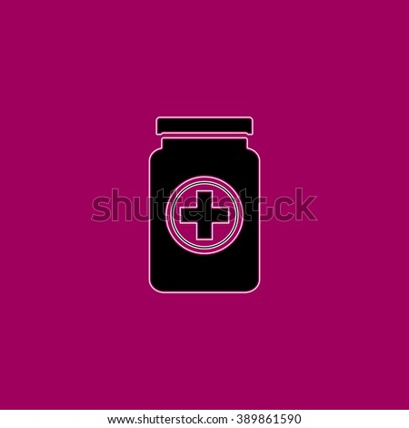 Medical container. Black simple flat icon with white stroke - stock photo