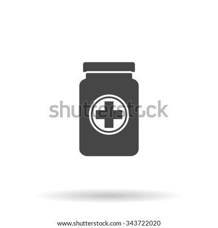Medical container. Flat icon on grey background with shadow - stock photo