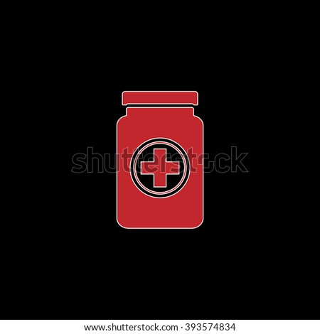 Medical container. flat symbol pictogram on black background. red simple icon with white stroke - stock photo