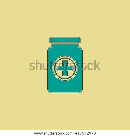 Medical container. Green simple flat symbol with black stroke over yellow background - stock photo