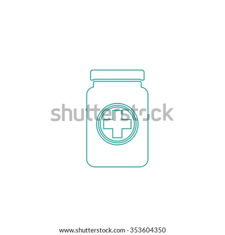 Medical container. Outline symbol on white background. Simple line icon - stock photo