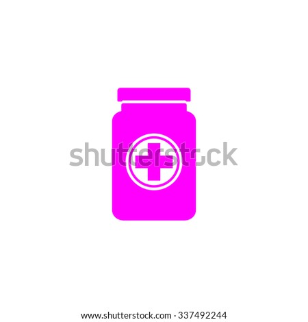 Medical container. Pink icon on white background. Flat pictograph - stock photo