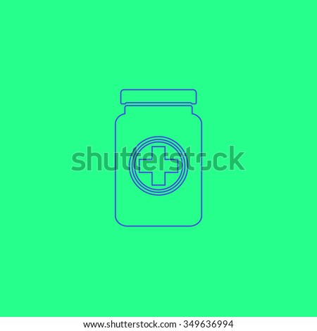 Medical container. Simple outline illustration icon on green background - stock photo