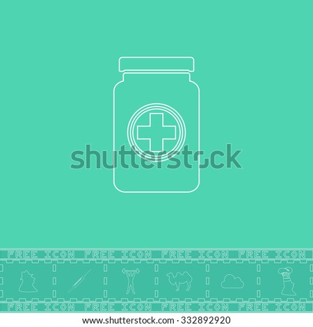 Medical container. White outline flat icon and bonus symbol. Simple illustration pictogram on green background - stock photo