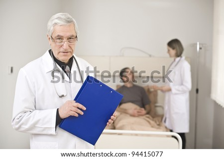 Medical conversation in modern hospital