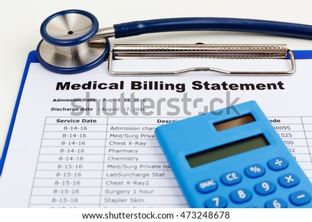 Medical cost concept with stethoscope and calculator