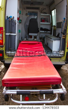 Medical couch in ambulance
