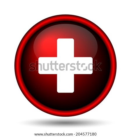 Medical cross icon. Internet button on white background.